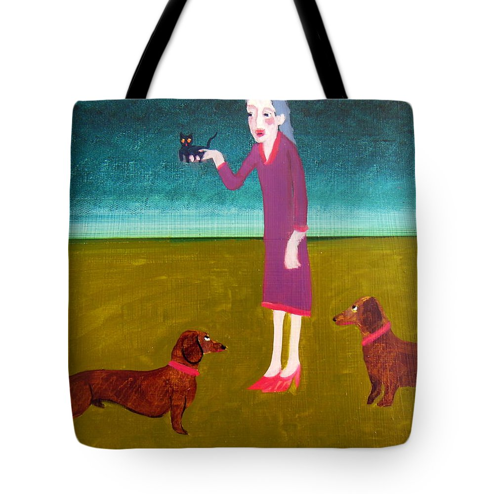 Dachshunds Tote Bag featuring the painting The New Addition by Bonita Barlow