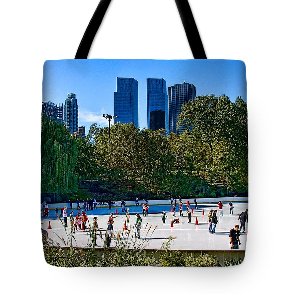 Central Park Tote Bag featuring the photograph The New York Central Park Ice Rink by Chris Lord