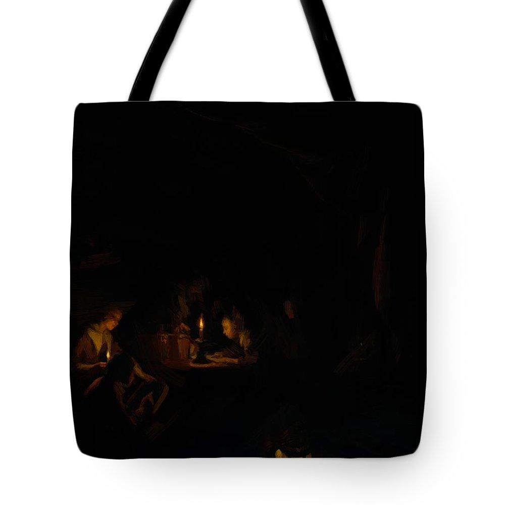 The Tote Bag featuring the painting The Night School 1665 by Dou Gerrit