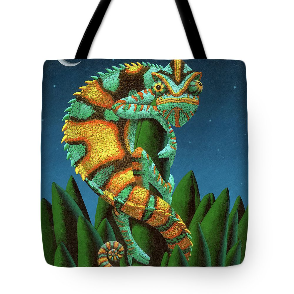 Chameleon Tote Bag featuring the painting The Night Watch by Chris Miles