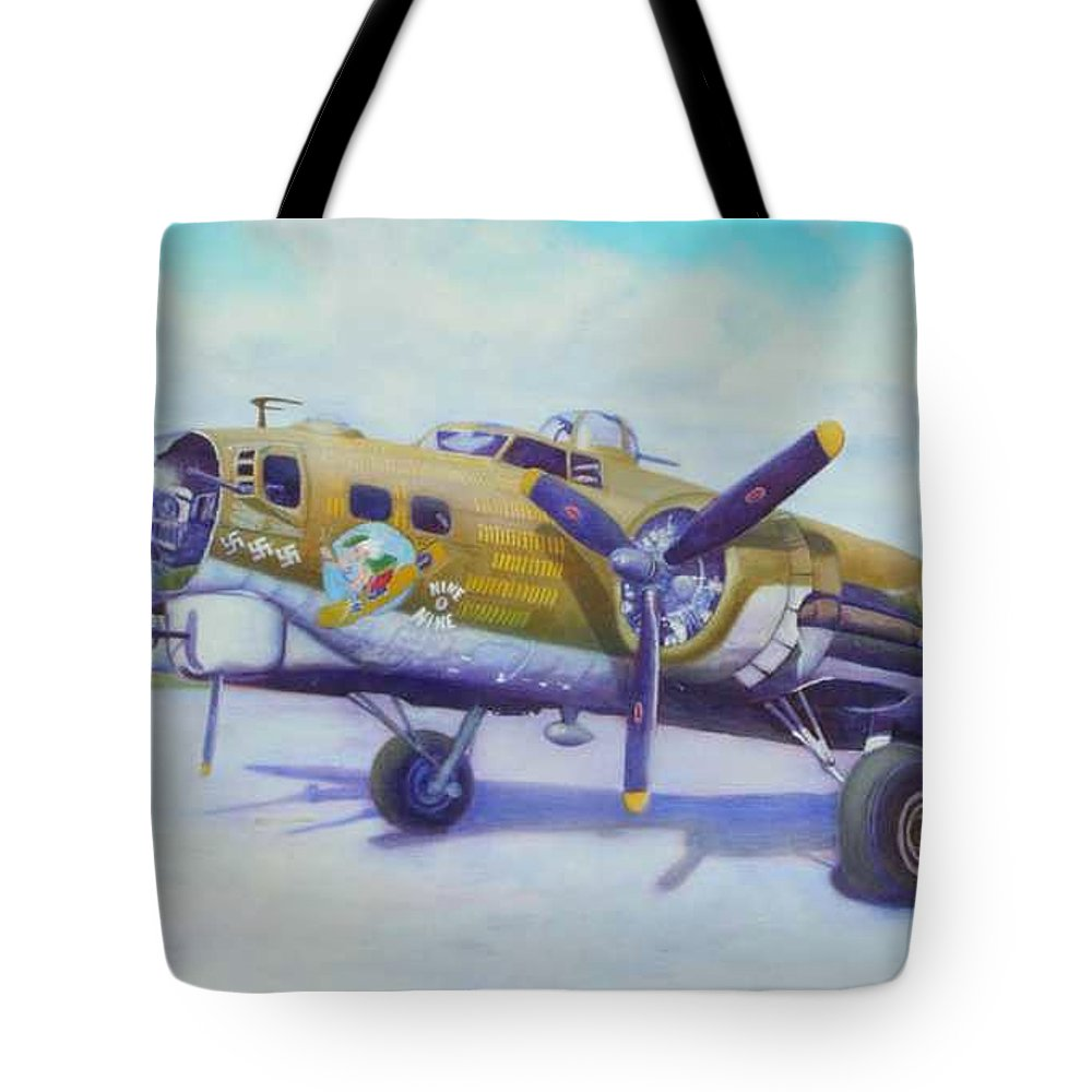 B-17 Tote Bag featuring the painting The Nine O Nine by Scott Robertson