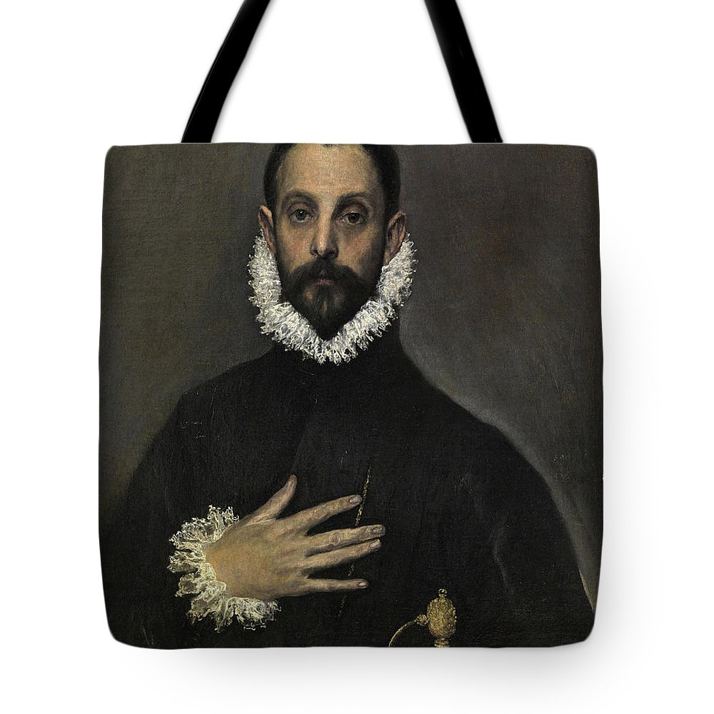 Beard Tote Bag featuring the painting The Nobleman With His Hand On His Chest by El Greco