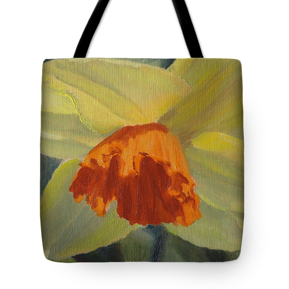 Flower Tote Bag featuring the painting The Nodding Daffodil by Lea Novak