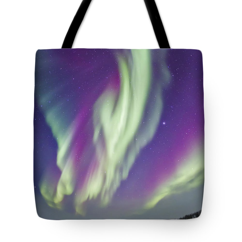 Aurora Tote Bag featuring the photograph The Northern Lights In Churchill by Alan Dyer
