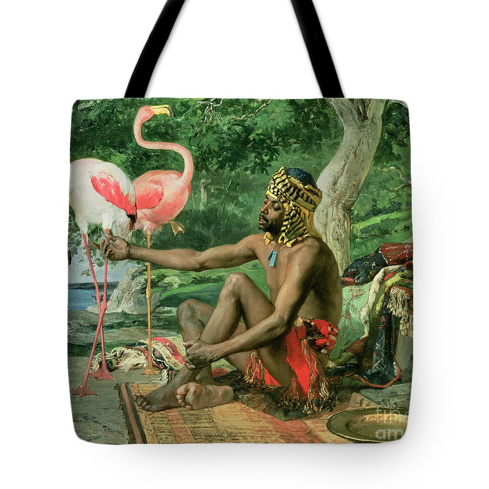 The Nubian Slave (oil On Canvas) By Georgio Marcelli (fl.1874) Tote Bag featuring the painting The Nubian by Georgio Marcelli