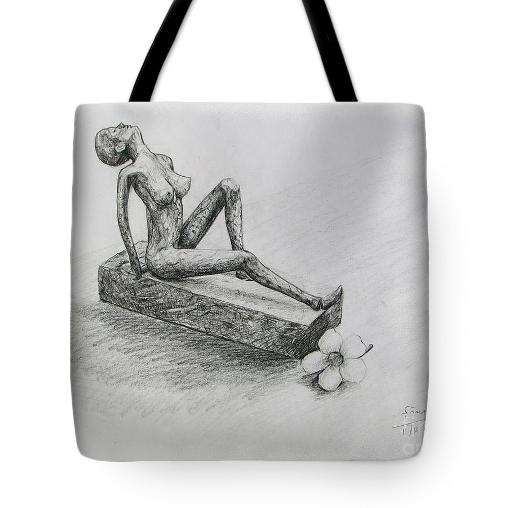 Nude Tote Bag featuring the drawing The Nude Sculpture by Sukalya Chearanantana