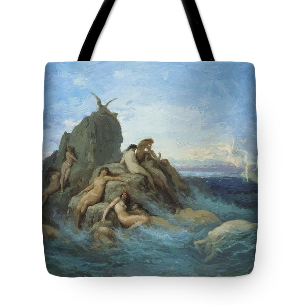 The Tote Bag featuring the painting The Oceanides 1869 by Dore Gustave