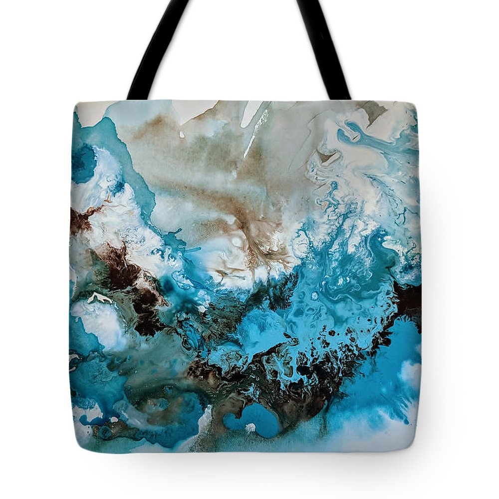 Impasto Painting Abstract Turquoise Abstract Painting Black White Painting Black And White Black And White Art Black White Abstract Large Abstract Art Grayscale Painting 24 X 36 Painting Abstract Art Gold Painting Glitter Painting Tote Bag featuring the painting The Ocean's Call by Amber Elizabeth Lamoreaux