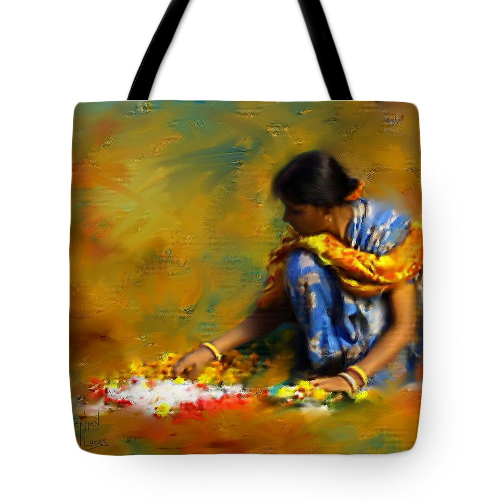 Spiritual Tote Bag featuring the digital art The Offerings by Stephen Lucas