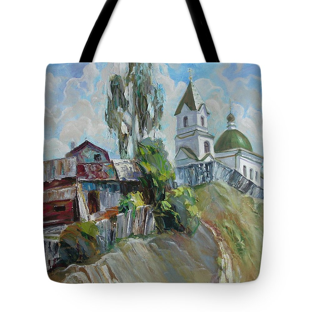 Oil Tote Bag featuring the painting The Old And New by Sergey Ignatenko