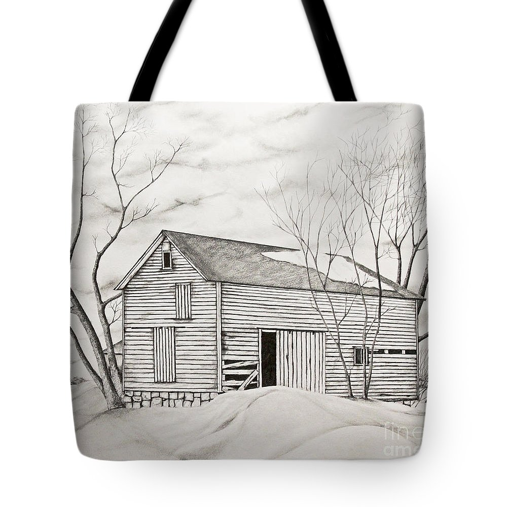 Trees Tote Bag featuring the drawing The Old Barn Inwinter by John Stuart Webbstock