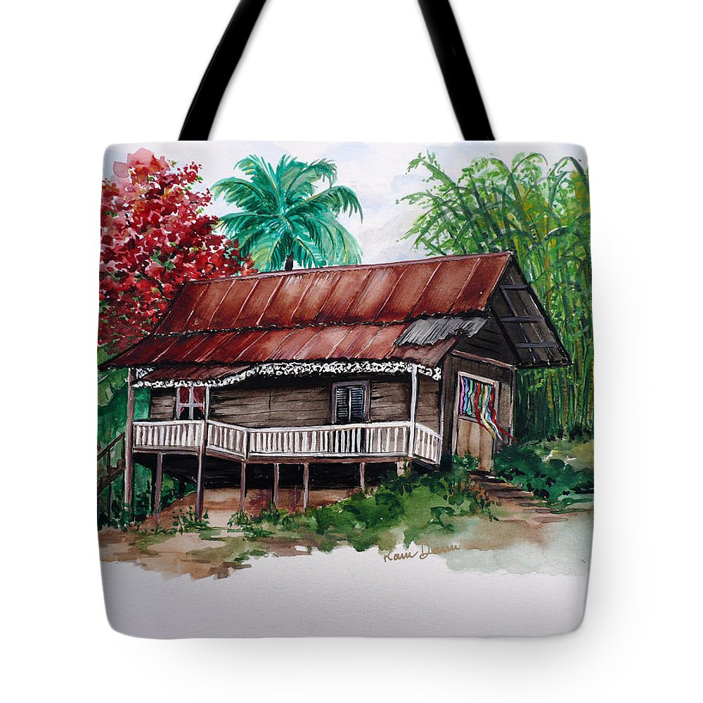 Tropical Painting Poincianna Painting Caribbean Painting Old House Painting Cocoa House Painting Trinidad And Tobago Painting  Tropical Painting Flamboyant Painting Poinciana Red Greeting Card Painting Tote Bag featuring the painting The Old Cocoa House by Karin Dawn Kelshall- Best