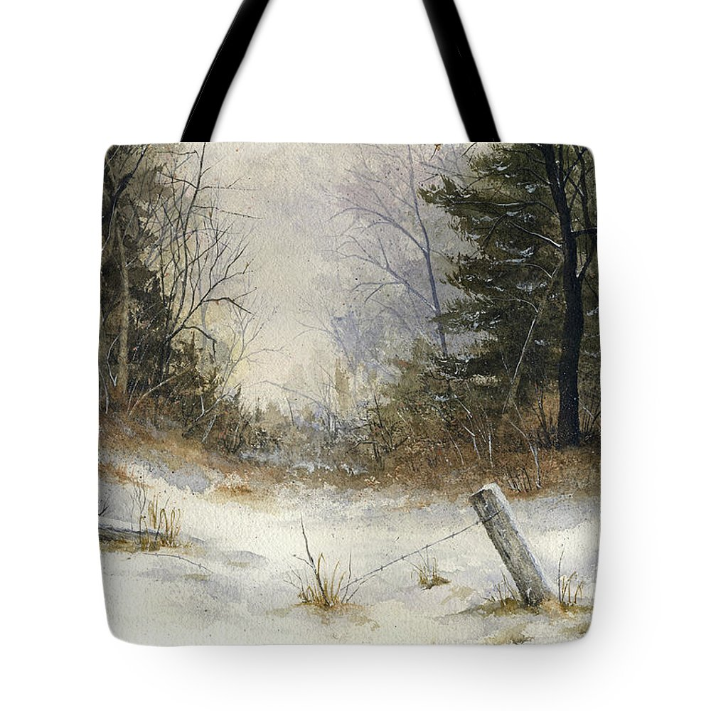 Snow Tote Bag featuring the painting The Old Fence by Mary Tuomi