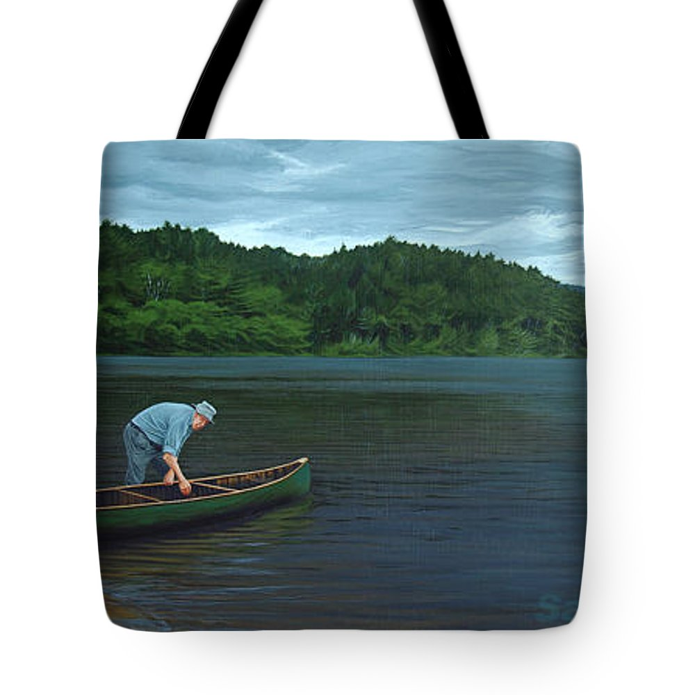 Landscape Tote Bag featuring the painting The Old Green Canoe by Jan Lyons