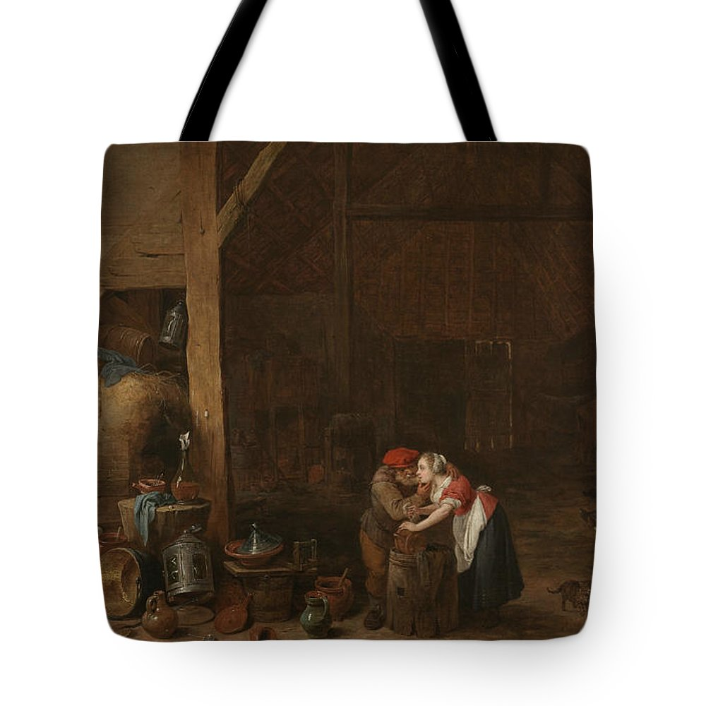 17th Century Art Tote Bag featuring the painting The Old Man And The Maid by David Teniers the Younger