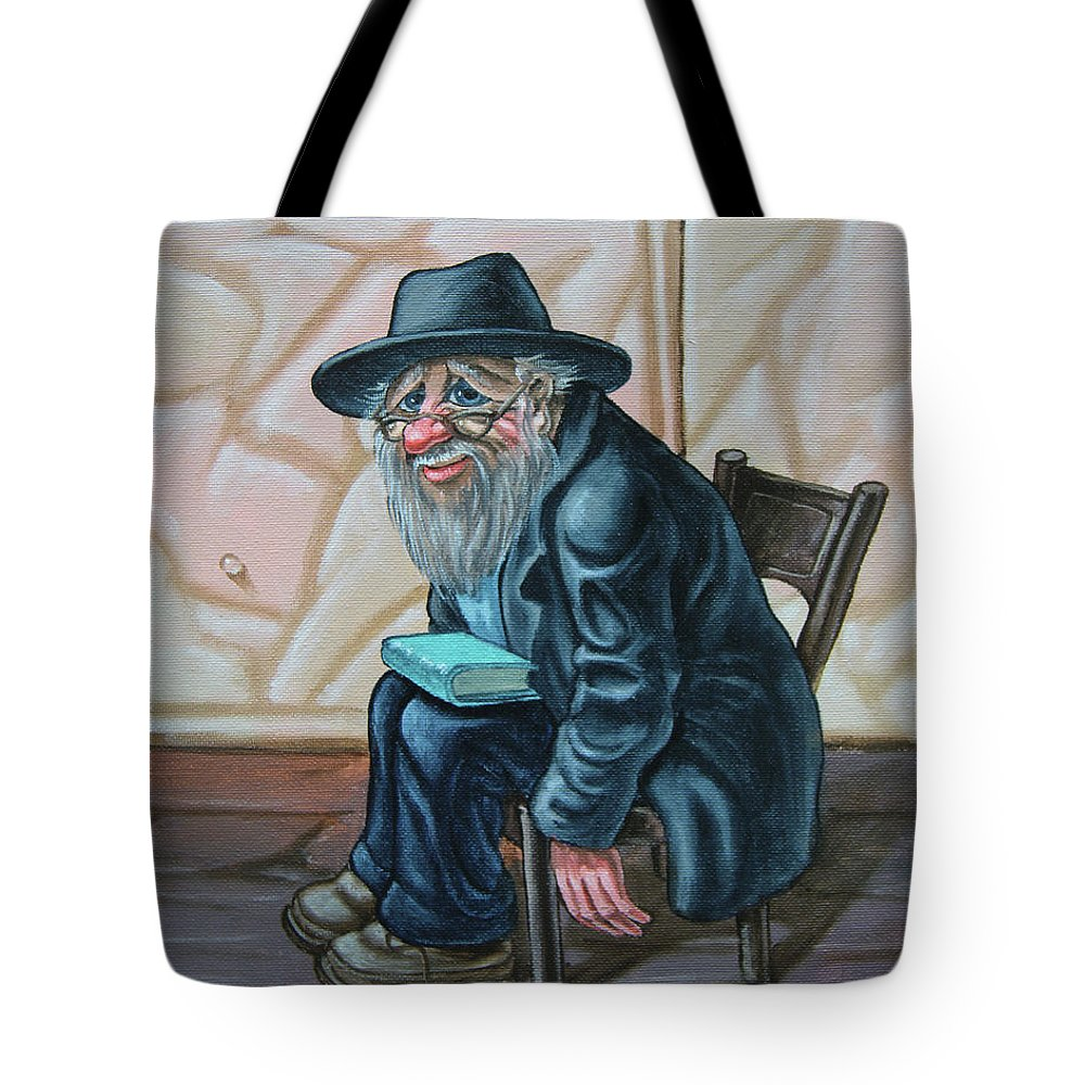 Wailing Wall Tote Bag featuring the painting The Old Man Near The Western Wall by Victor Molev