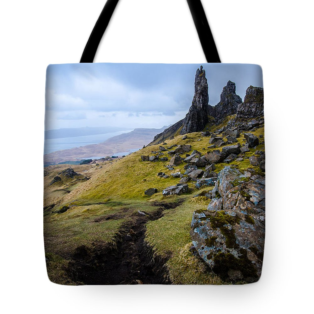 the old man of storr tote bag for sale by ingo scholtes. Black Bedroom Furniture Sets. Home Design Ideas