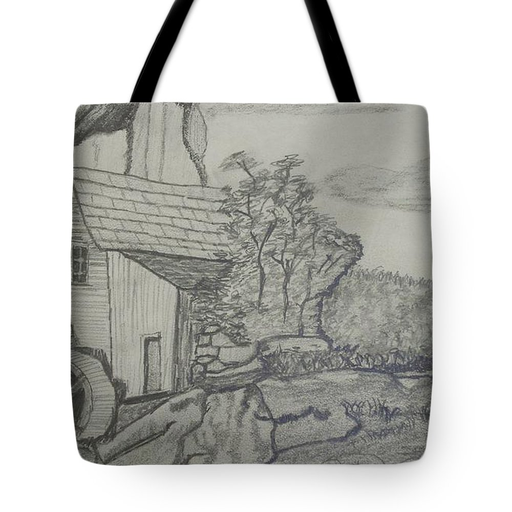 Landscape Tote Bag featuring the drawing The Old Mill by Carla Vivrette