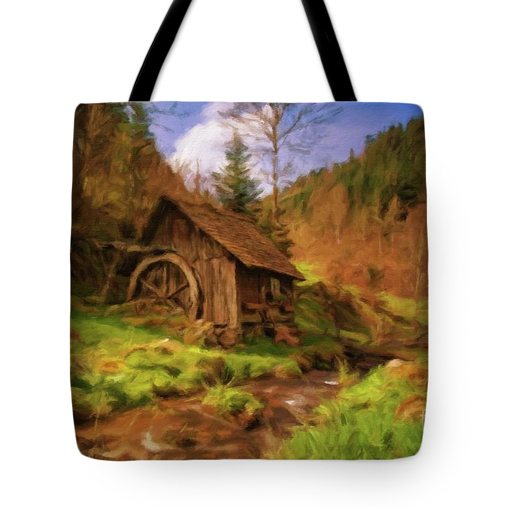 Landscape Tote Bag featuring the painting The Old Mill by Sarah Kirk