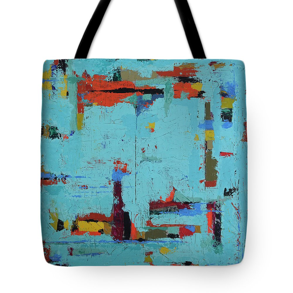 Abstract Tote Bag featuring the painting The Neighborhood by Jim Benest