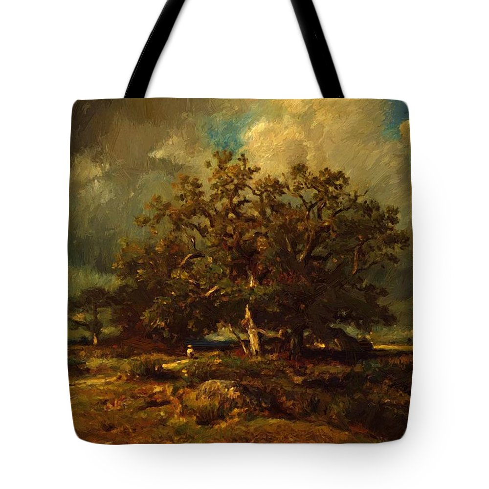 The Tote Bag featuring the painting The Old Oak 1870 by Dupre Jules