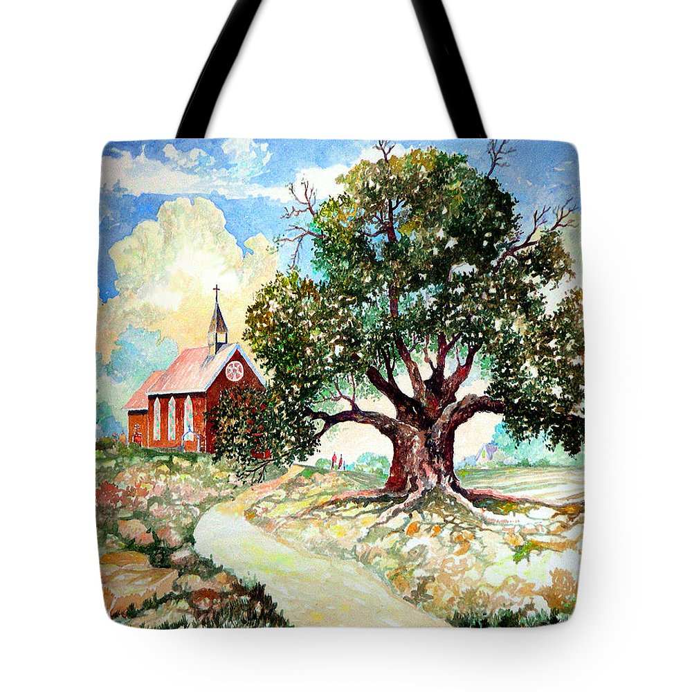 Giclee Prints Church House Tree Texas New Mexico Southwest Landscape Watercolor Tote Bag featuring the painting The Old Oak Church by Donn Kay