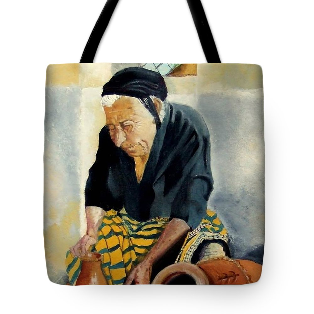 Old People Tote Bag featuring the painting The Old Potter by Jane Simpson