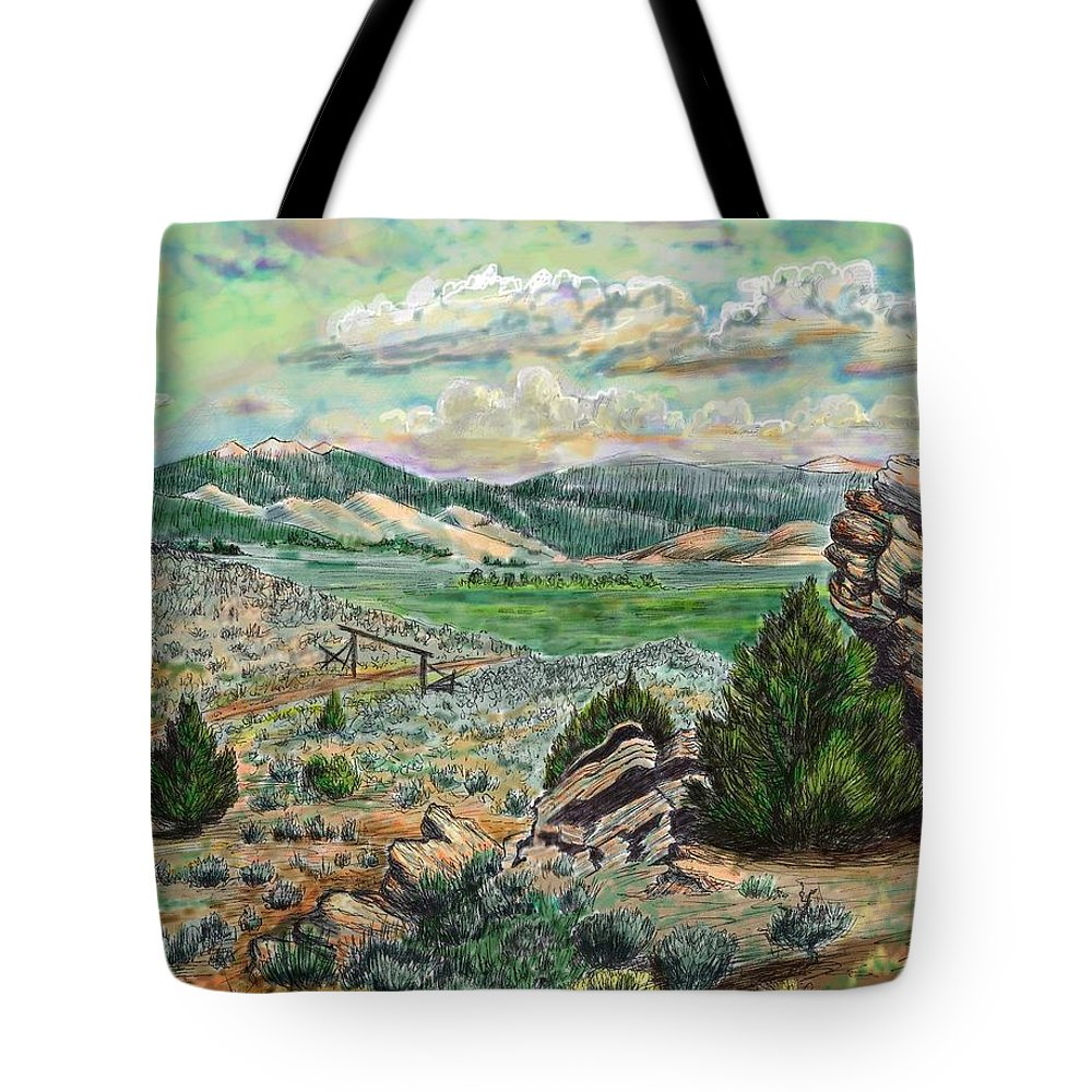 Landscape Tote Bag featuring the drawing The Old Ranch Gate by Dawn Senior-Trask