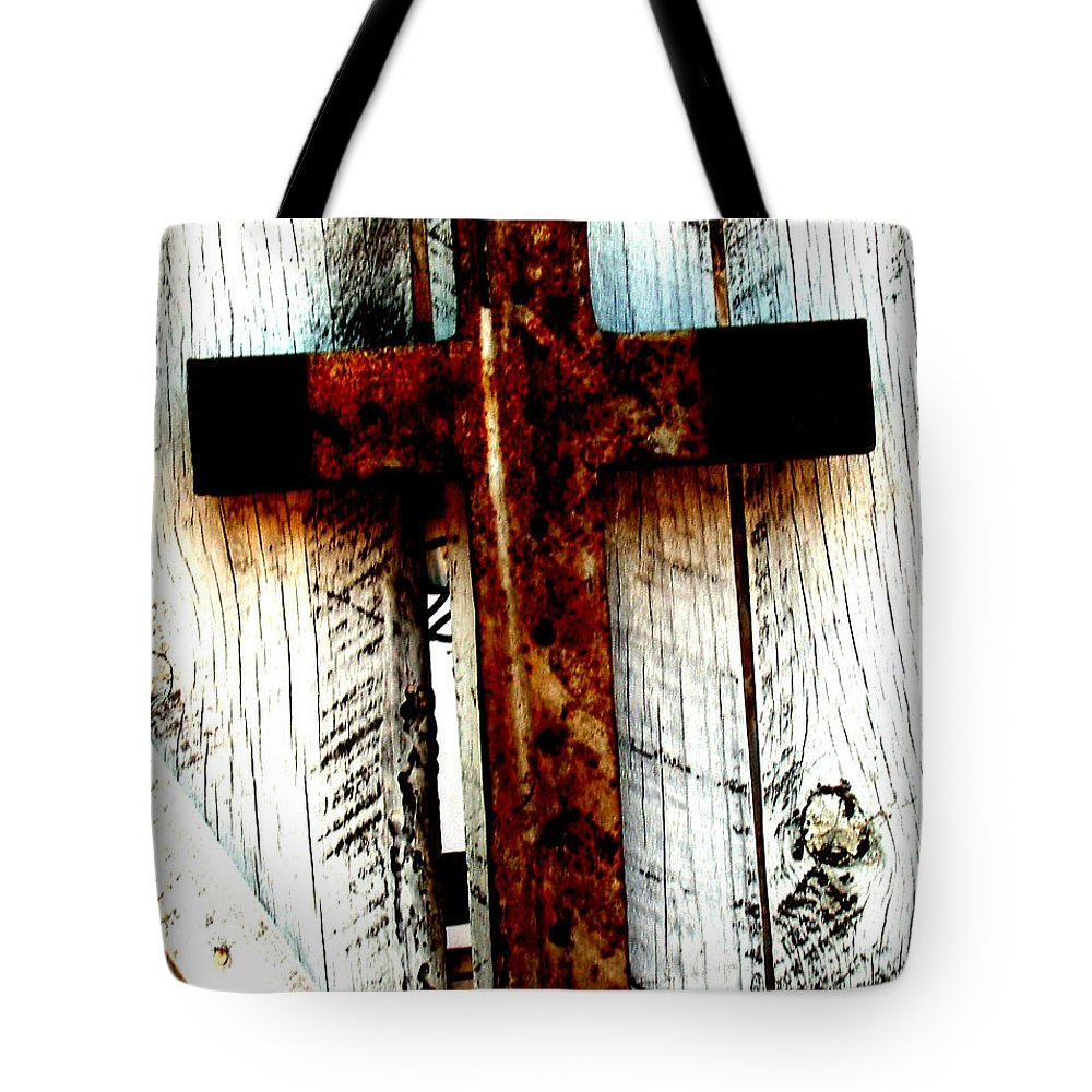 Cross Tote Bag featuring the photograph The Old Rusted Cross by Wayne Potrafka