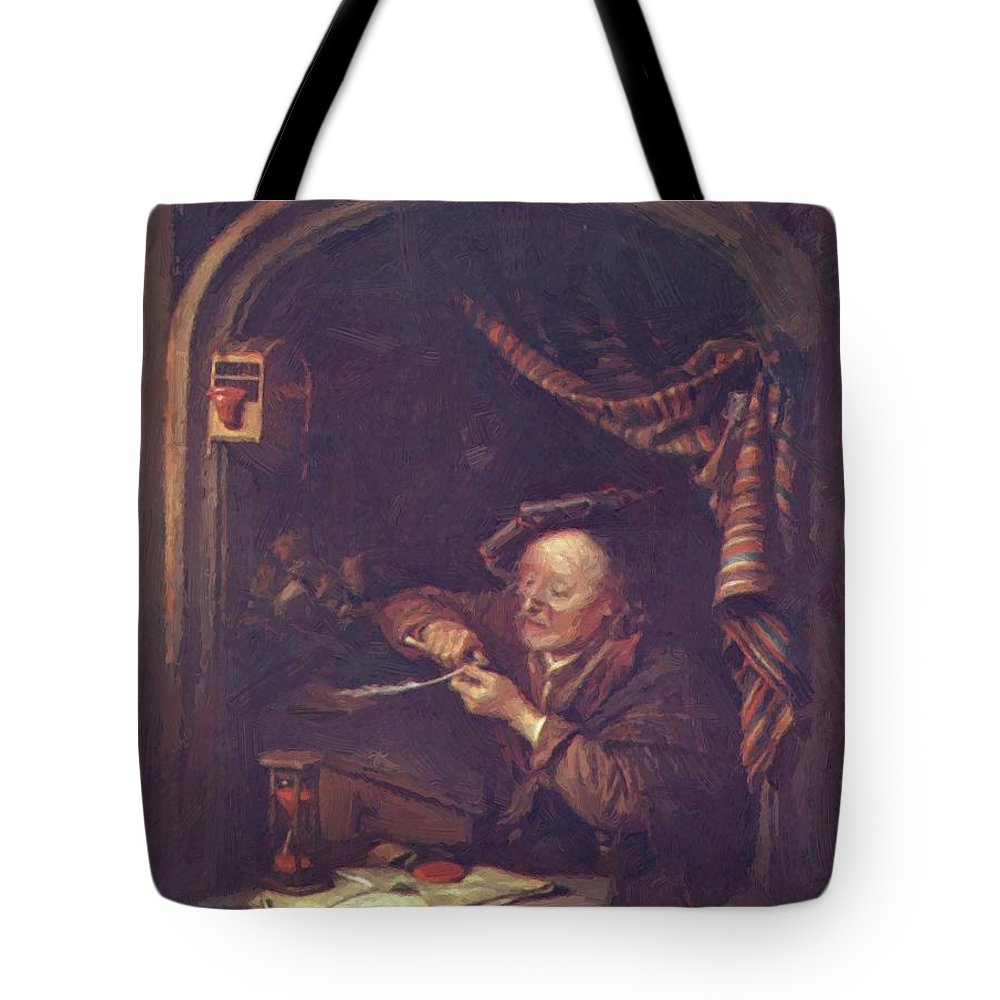 The Tote Bag featuring the painting The Old Schoolmaster 1671 by Dou Gerrit