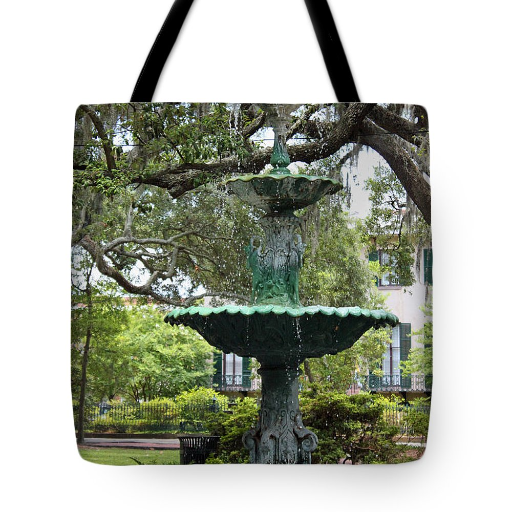 Fountain Tote Bag featuring the photograph The Old South Series IIi by Suzanne Gaff