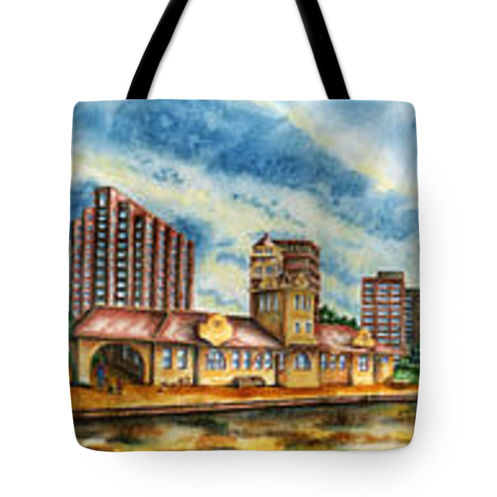 Cityscape Tote Bag featuring the painting The Old Train Station  by Ragon Steele