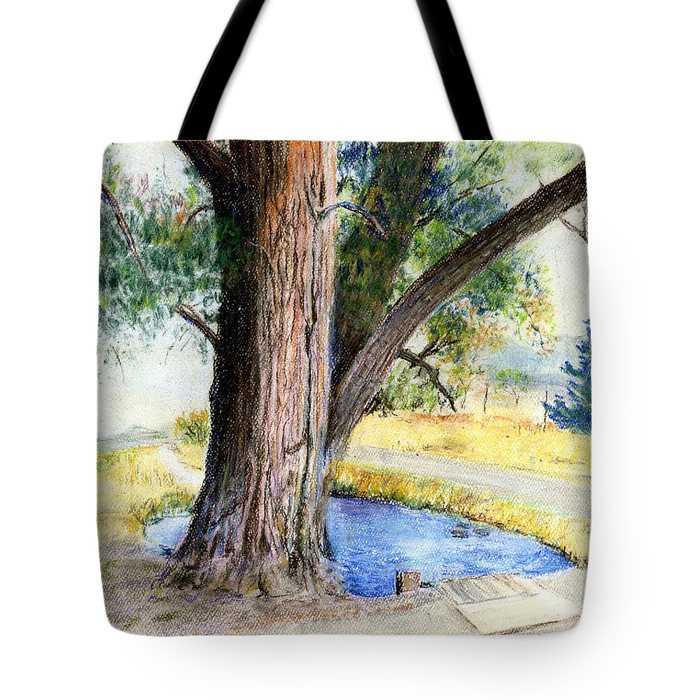 Tree Tote Bag featuring the pastel The Old Tree by Arline Wagner