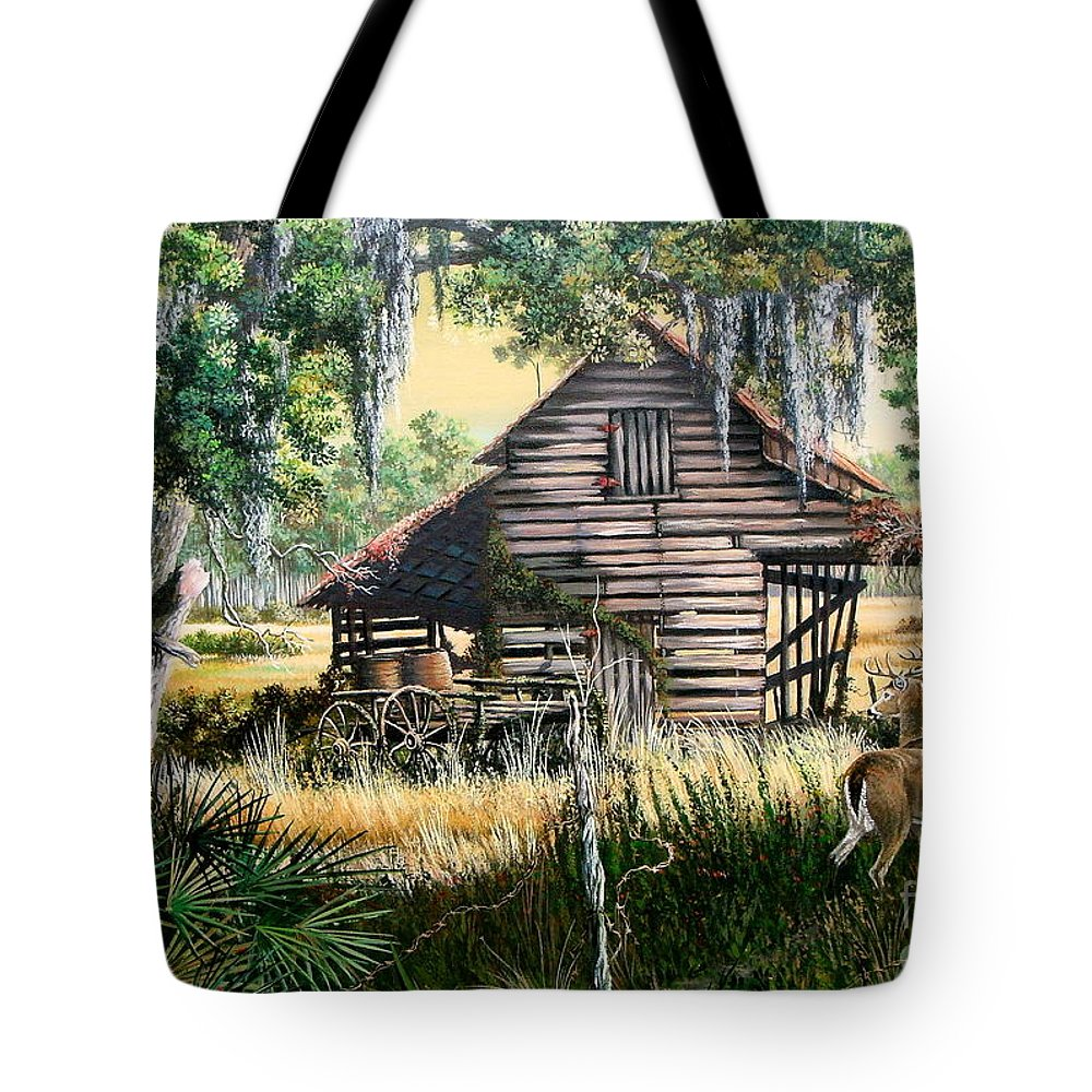 Florida Tote Bag featuring the painting Old Floridaturpentine Barn-a Florida Memory by Daniel Butler