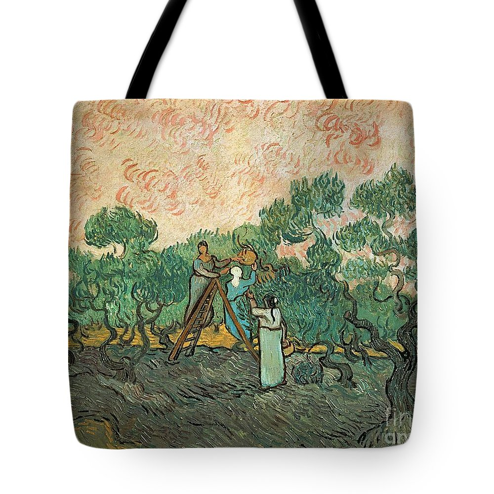 The Tote Bag featuring the painting The Olive Pickers by Vincent van Gogh