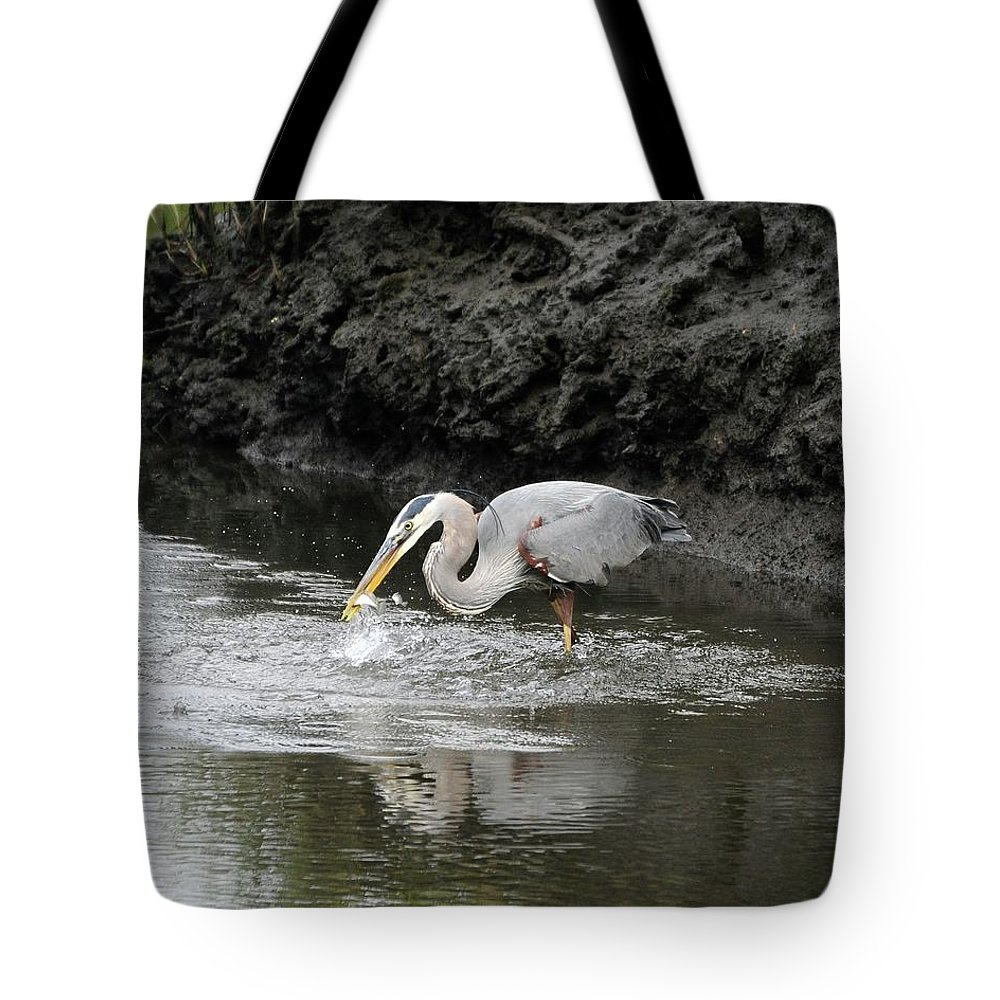 Great Blue Heron Tote Bag featuring the photograph The One That Got Away by Al Powell Photography USA