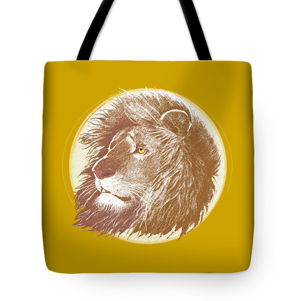 Lion Tote Bag featuring the mixed media The One True King by J L Meadows