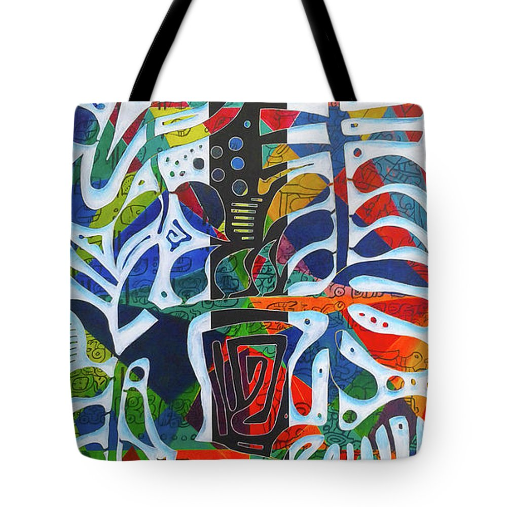 Guadeloupe Tote Bag featuring the painting The One Who Dwells In The Heart Of All Things by Jocelyn Akwaba-Matignon