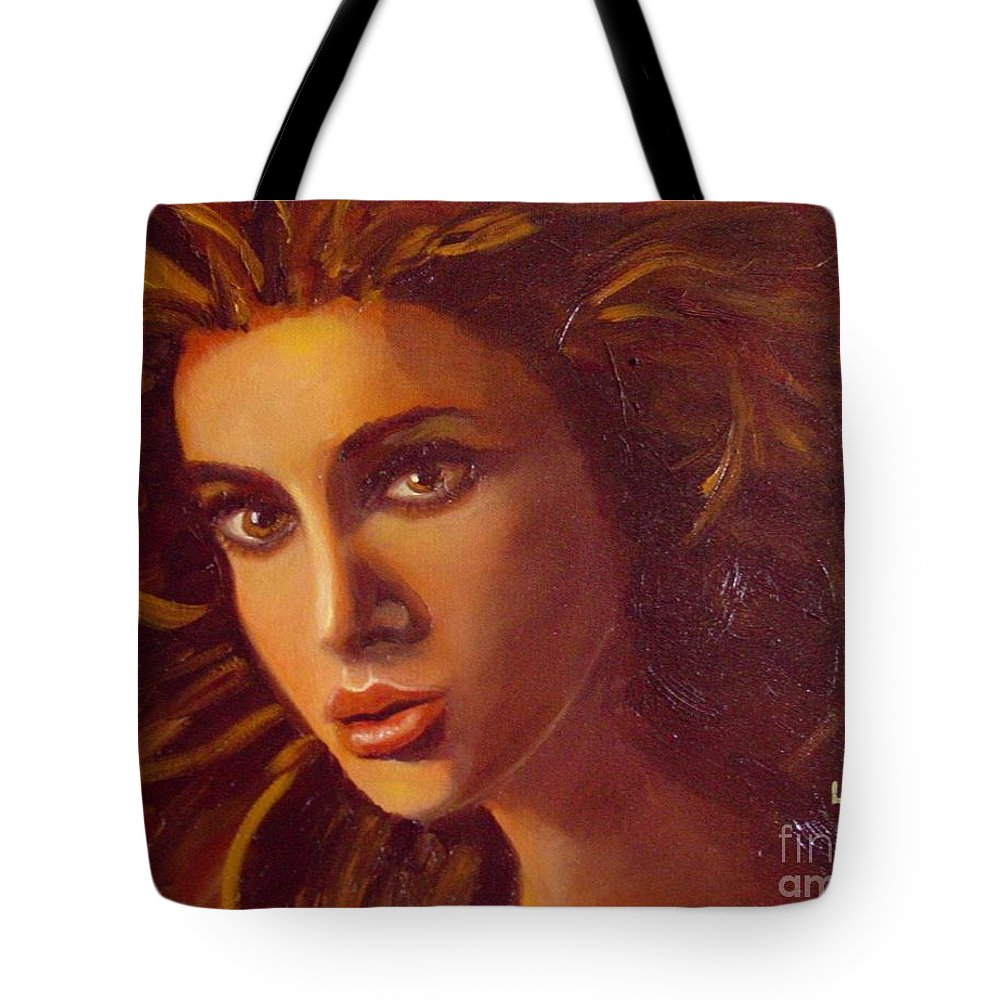 Portrait Tote Bag featuring the painting The Oracle by Laurie Morgan