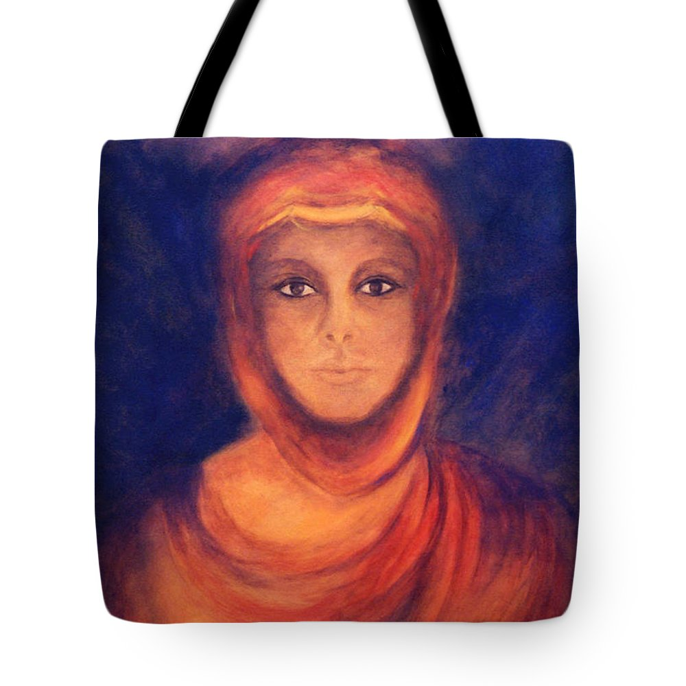 Woman Tote Bag featuring the painting The Oracle by Marina Petro