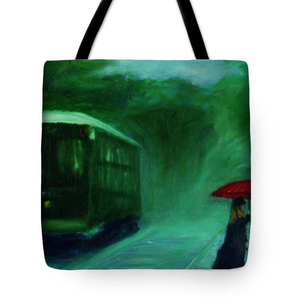 Umbrella Tote Bag featuring the painting The Orange Umbrella 1888 by David McGhee