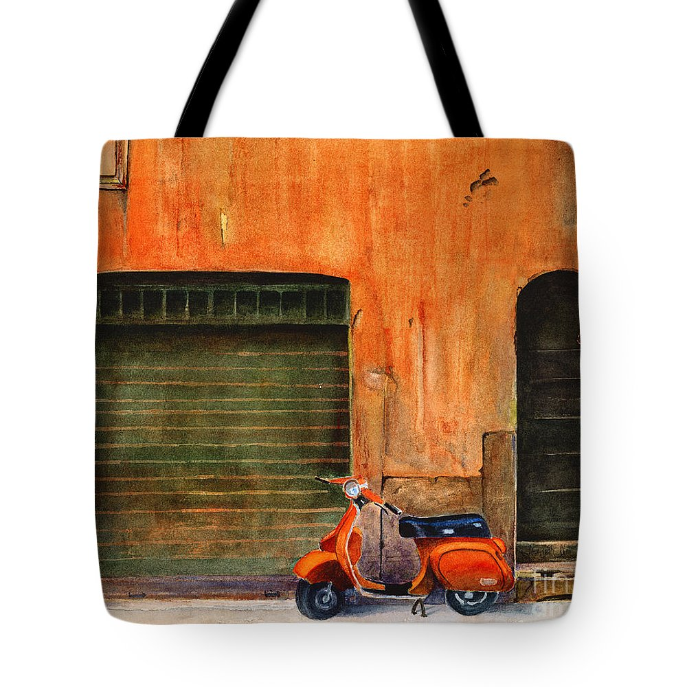 Vespa Tote Bag featuring the painting The Orange Vespa by Karen Fleschler