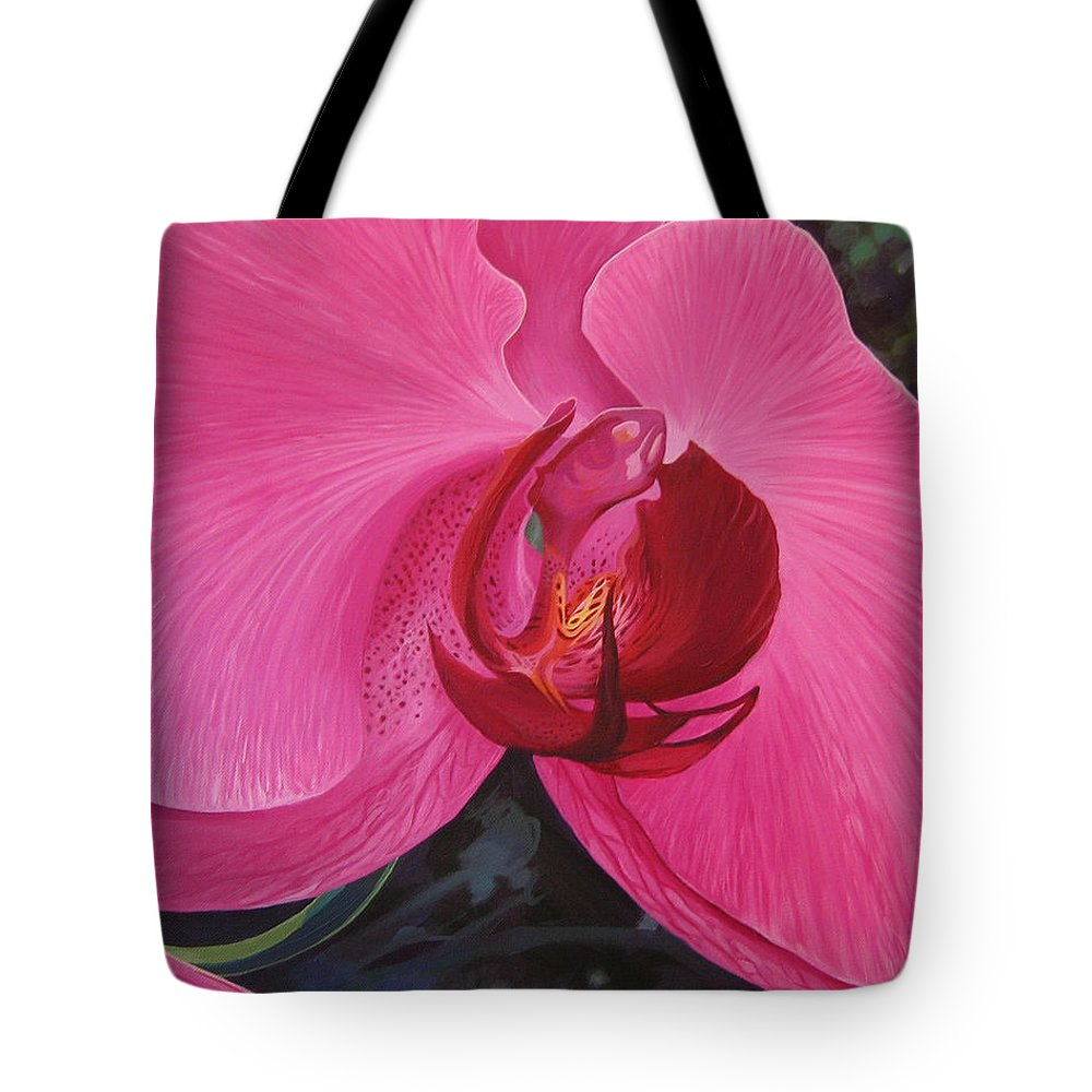 Orchid Tote Bag featuring the painting The Orchid In San Juan by Hunter Jay