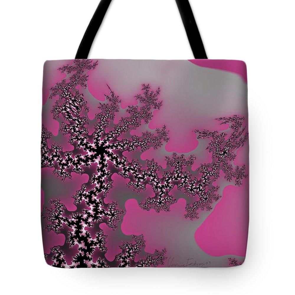 Fractals Tree Nature Oriental Art Tote Bag featuring the digital art The Oriental Tree by Veronica Jackson