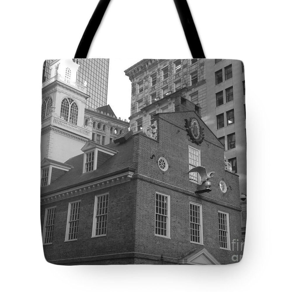 Black And White Tote Bag featuring the photograph The Original Massachusetts State House by Gina Sullivan