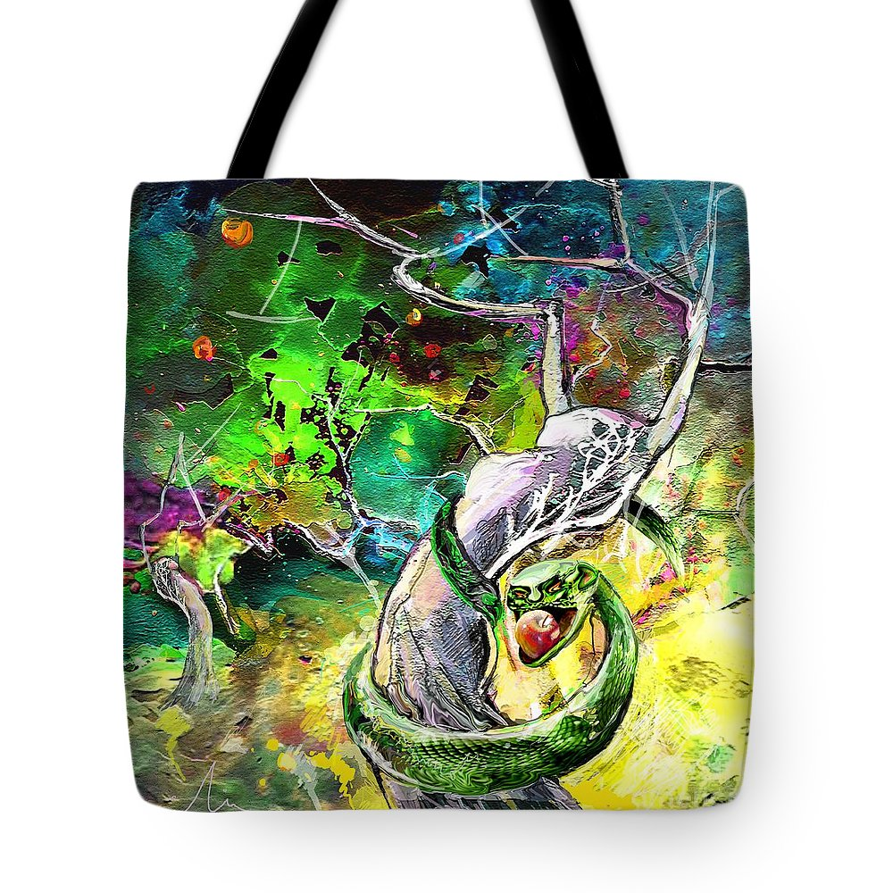 Bible Paintinh Tote Bag featuring the painting The Original Sin by Miki De Goodaboom
