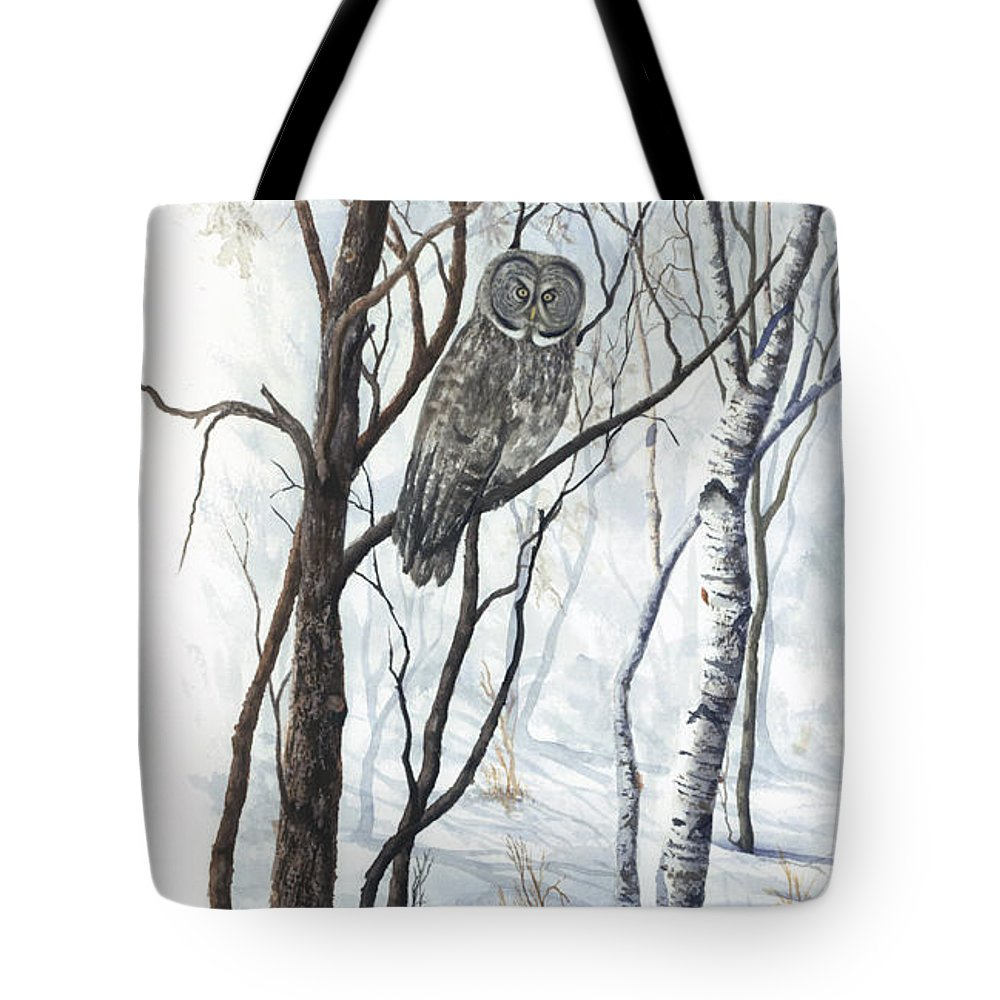 Owl Tote Bag featuring the painting The Owl by Mary Tuomi