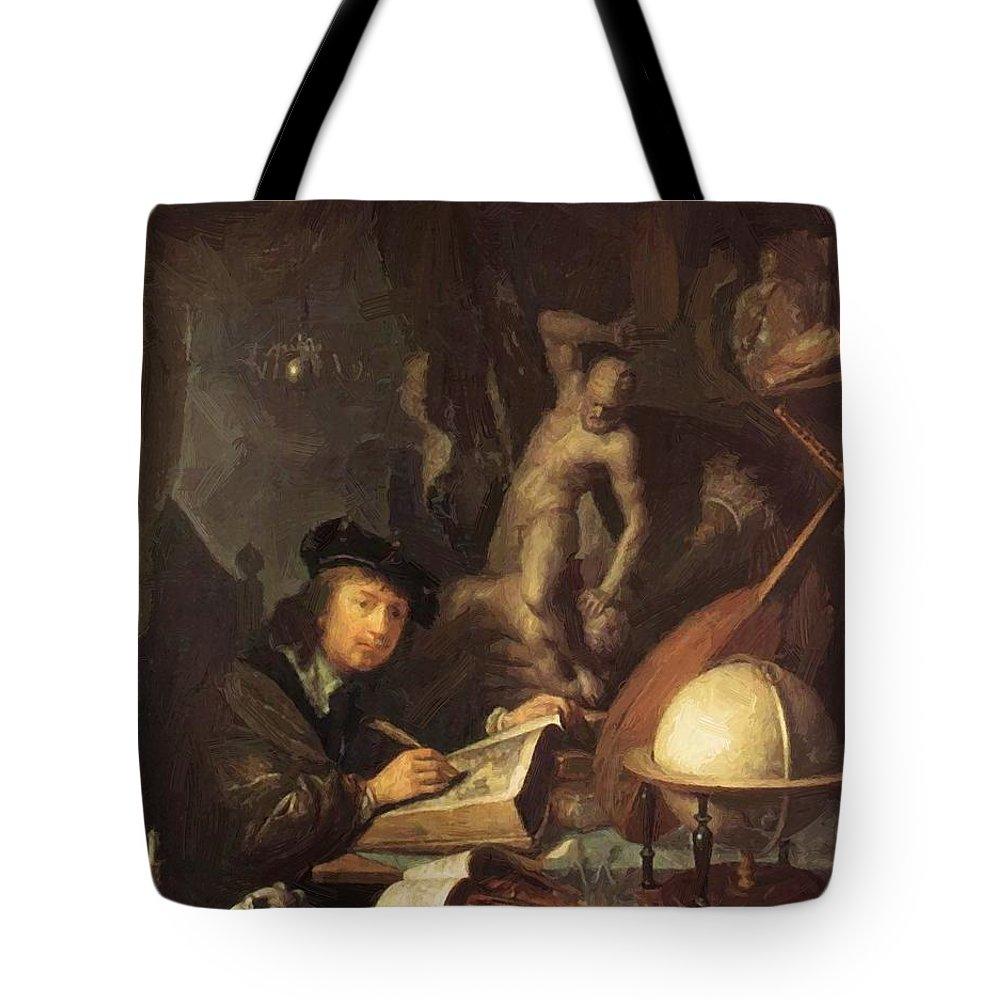 The Tote Bag featuring the painting The Painter In His Workshop 1647 by Dou Gerrit
