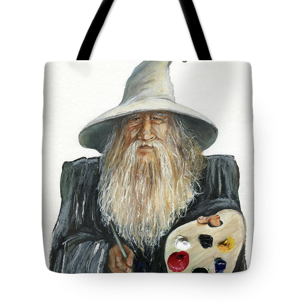 Wizard Tote Bag featuring the painting The Painting Wizard by J W Baker