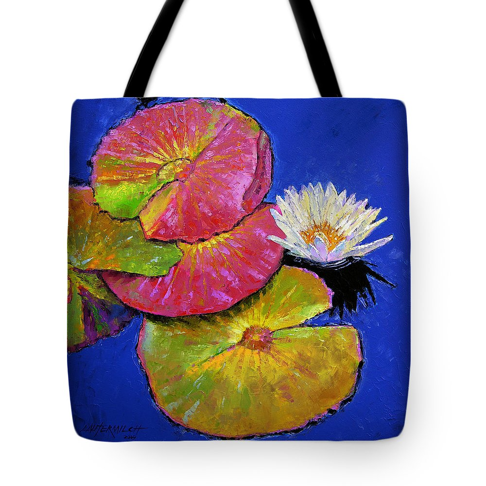 Water Lily Tote Bag featuring the painting The Palletes Of Fall by John Lautermilch